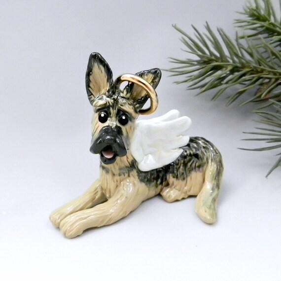 Shepherd Gold On Blue Silhouette Ornament: German Shepherd Angel Christmas Ornament Figurine Porcelain