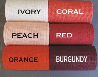 5 in BURGUNDY, Red, CORAL, Orange, or PEACH Burlap Ribbon - 3  yards