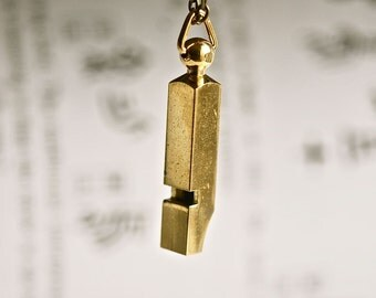 Little Whistle Necklace - VIntage brass Working Whistle - Free Domestic Shipping