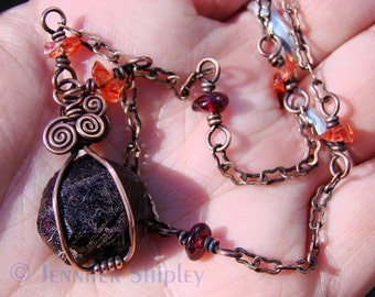 Garnet & Carnelian Pendant Necklace: Wire Wrapped Copper, Natural Healing Raw Almandine Garnet Gemstone Crystal and Gemmy Orange Carnelian