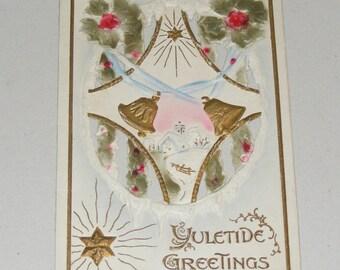 Antique Postcard Yuletide Greetings Embossed Diecut