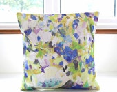 floral art decorative pillow cover 16 inch, blue green white lilac flowers cushion cover