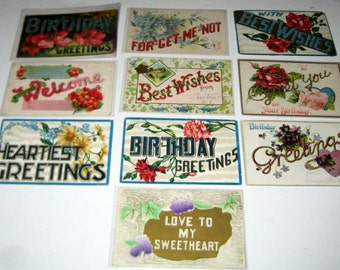 10 Antique Large Big Letter Postcards  - Birthday, Greetings, Welcome, Best Wishes, etc. - for Collecting, Altered Art, Scrapbooking, Crafts