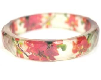 Red Flowers Faceted Resin Bangle Bracelet