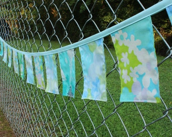 Fabric Banner Aqua 8 ft Vintage Cloth Floral Blue Bunting