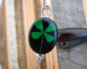 Real Four Leaf Clover Bracelet - black silver bangle bracelet. Lucky, Irish, Plant, Leaves, tree, love, Ireland, Blessed, Faith, Luck, Grad