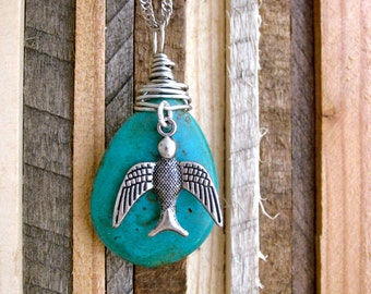 I Believe I can Fly - Natural stone with bird accent & silver chain.  Sparrow, Turquoise, chunky, rock, trees, Ooak, fly, free spirit, hope