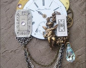 75% off ENTIRE SHOP Brooch Pin Antique brass Christmas Angel pocket watch parts vintage clock parts gold chains gears steampunk