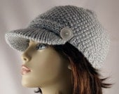 Hand Knitted Light Grey Chunky Wool Beanie with a Brim