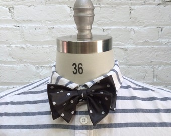 vintage black and white preppy polka dot bow tie