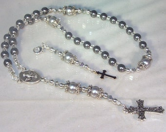 Swarovski Pearl Rosary - Anglican - Made to Order - Shown with Pewter & Silver Pearls