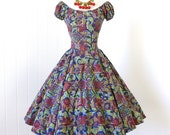vintage 1940's dress ...rare TINA LESER watercolor tapas print cotton adjustable peasant full CIRCLE skirt dress