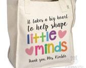 teacher tote bag - adorable teacher tote for kindergarten, first grade - teacher gift takes a big heart to help shape little minds