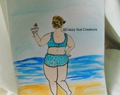 Bathing Beauty Swimming lady original fine art water color illustration