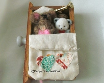 Tiny Mouse miniature art sculpture assemblage bed time for the mouse sleeping in a drawer ooak felted art