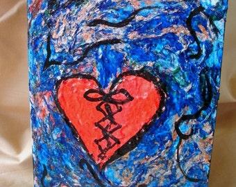 The mended broken heart painting fine art original painting