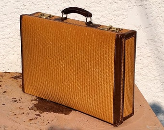 Vintage Finely Woven Wicker Briefcase with Dark Brown Leather Edging and Handle, Sunny Yellow Lining, Original Keys