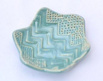 Aqua / Robin's Egg Blue Ring Dish / Ring Holder - Ceramic Stoneware Pottery