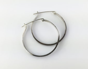 Small Silver Hoop Earring - Fairmined Silver and Oxidized Duo Color