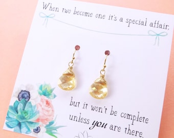 Bridesmaid gifts, Be my bridesmaid card, Bridal earrings, Champagne earrings, Custom Color Swarovski crystal earrings, Bridal earrings