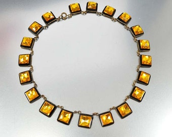 Czech Art Deco Necklace, Vauxhall Glass Mirrored Glass Necklace, Vintage 1920 Art Deco Jewelry, Antique Jewelry, Rare Unique Necklace