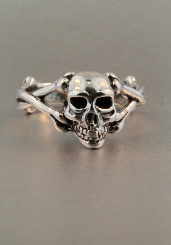 Skull Ring Silver - Skull and Crossbone Ring - Silver Skull - Biker Ring - Gothic Ring - Steampunk Ring