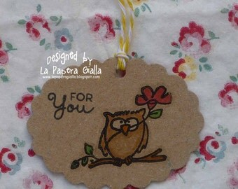 FOR YOU - Set of 5 handmade sweet little tags or embellishments with owl and flower