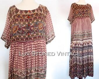 Vintage 80s Indian Boho Hippie Cotton Gauze Gypsy India Festival Midi Maxi Dress | SML | 1042.7.13.15
