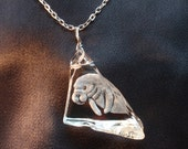 Manatee Necklace, Hand Carved Glass, Etched Glass, Nautical, Ocean, Florida,