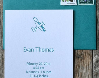 Letterpress birth announcements, free shipping in the US
