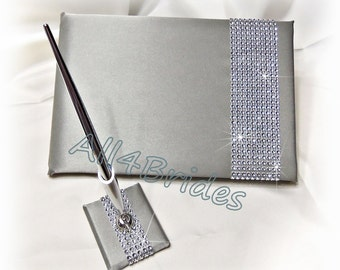 Rhinestone  wedding guest book, sparkly simulated rhinestone  grey guest book and pen set.  Bling wedding accessories decor