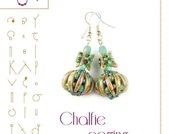 Beading tutorial Chalfie earring with crescent beads- PDF instruction for personal use only