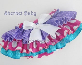 Classic Style Sassy Pants Ruffled Diaper Cover Bloomer Purple Pink Blue