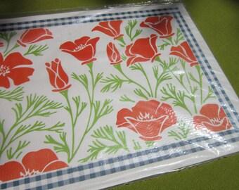 Vintage Orange Poppy Monogram Placemats 20 In Original Package Unopened