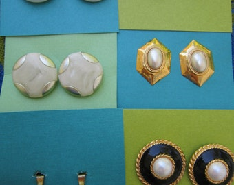 Lot Of Six Pairs Vintage Clip On Earrings Pearly And Pearlized One Pair Marked Japan