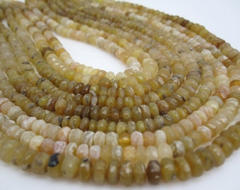 Yellow Opal Beads, Faceted Rondelles, Yellow Gemstone Beads, SKU 4528A