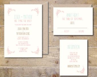 Wedding Invitation Template, DIY Invitation, Invitation File, Printable Wedding Suite, Vintage, Printable, Digital, Garden Wedding, Floral