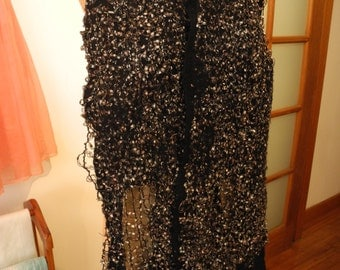 black felted scarf with net embellishment