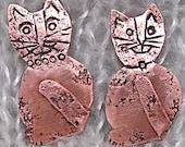 Copper Cat Brooch. Cat Pin. Cat Lovers, Kitty Lover Pin. Copper Kitty Pin. Feline Copper Pin.
