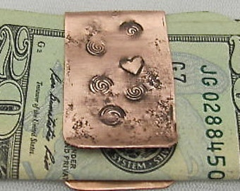Copper Money Clip, Hammered Money Clip. Artisan Money Clip. Pure Copper Clip. Affordable GUY GIFT. Father,Bro Gift.