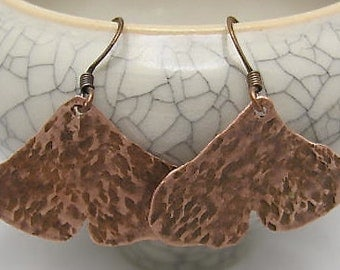 Copper Leaf Earrings. Ginko Leaf Earrings. Leaf Earrings.