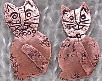 Copper Cat Brooch. Cat Pin. Cat Lovers, Kitty Lover Pin. Copper Kitty Pin. Feline Copper Pin. ONSALE FOR APRIL.