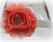 Coral Shabby Fabric Flower with Custom Rhinestone Center with optional Interchangeable Elastic Headband you choose color