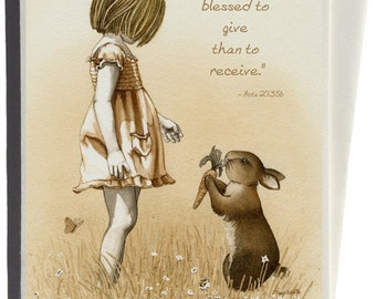 Girl with the Giving Rabbit Greeting Card by Tracy Lizotte