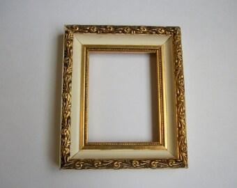 sale 8 x 10 gold metal picture frame art by queeniesvintagefinds. Black Bedroom Furniture Sets. Home Design Ideas