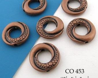 14mm Antique Copper Spiral Swirl Donut Beads (CO 453) 6 pcs BlueEchoBeads
