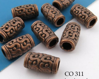 12mm Large Hole Copper Tube Beads, 12mm x 6mm  (CO 311) 8 pcs BlueEchoBeads