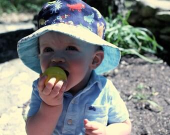 Bucket Sun Hat for Baby and Toddler Boys, Hawaiian tiki theme, plaid, cute and beachy