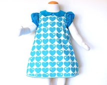 Sale - BLUE HEARTS baby girls handmade dress with short puff sleeves and peter pan collar, retro girls dress made with vintage 70's fabric