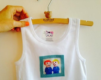 Cute Toddler Tank Top, Tee, Applique Fisher Price Little People, Soft Cotton, SIZE 2-4